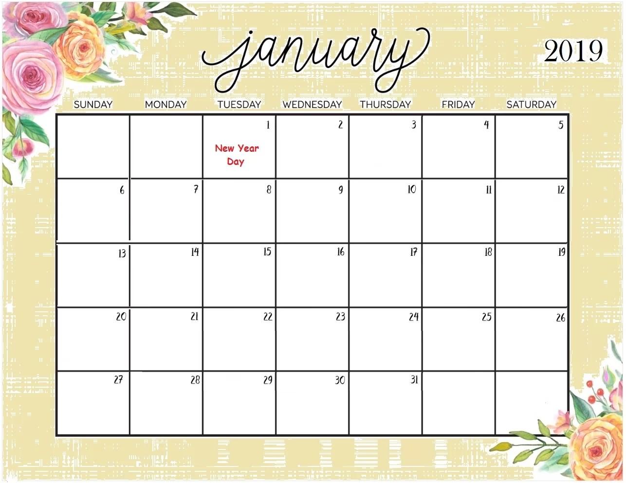 Calendar January 2019 Printable Template in PDF Word Excel