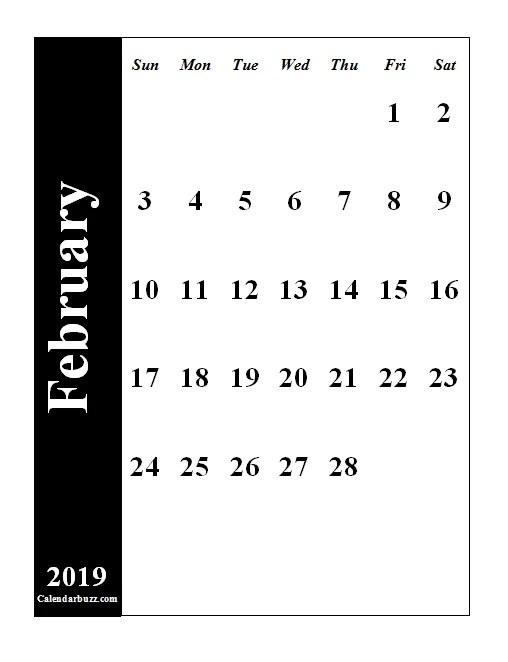 Editable Feb 2019 Calendar PDF Word Excel Printable