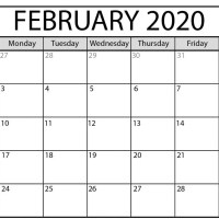 Editable Feb 2020 Calendar PDF Word Excel Printable Template With Holidays