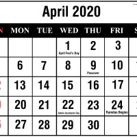 April 2020 Printable Calendar in PDF Word Excel With Holidays