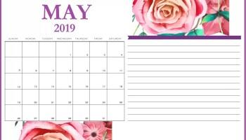 May 2019 Calendar Printable Template in PDF Word Excel