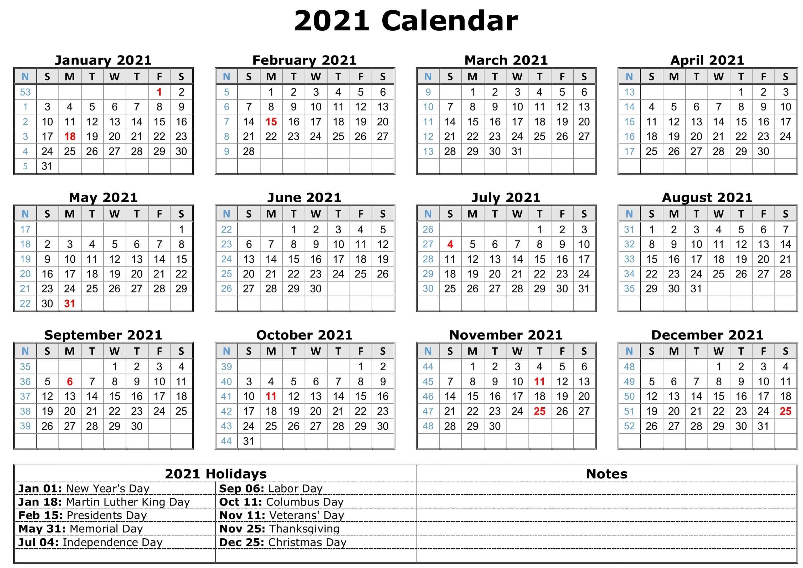 Jan 2021 · jan 2021. Free Yearly Printable Calendar 2021 with Holidays