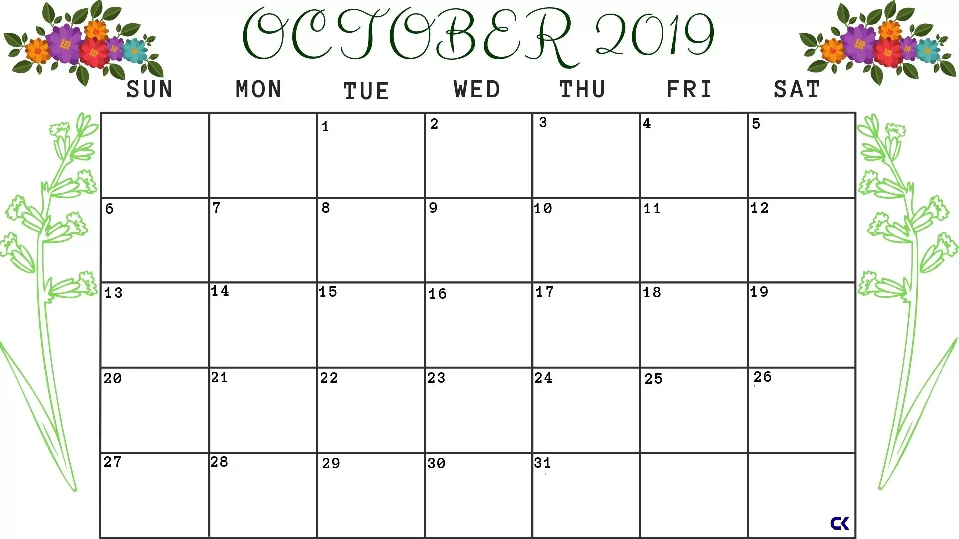 Blank Calendar October Printable A4 Page
