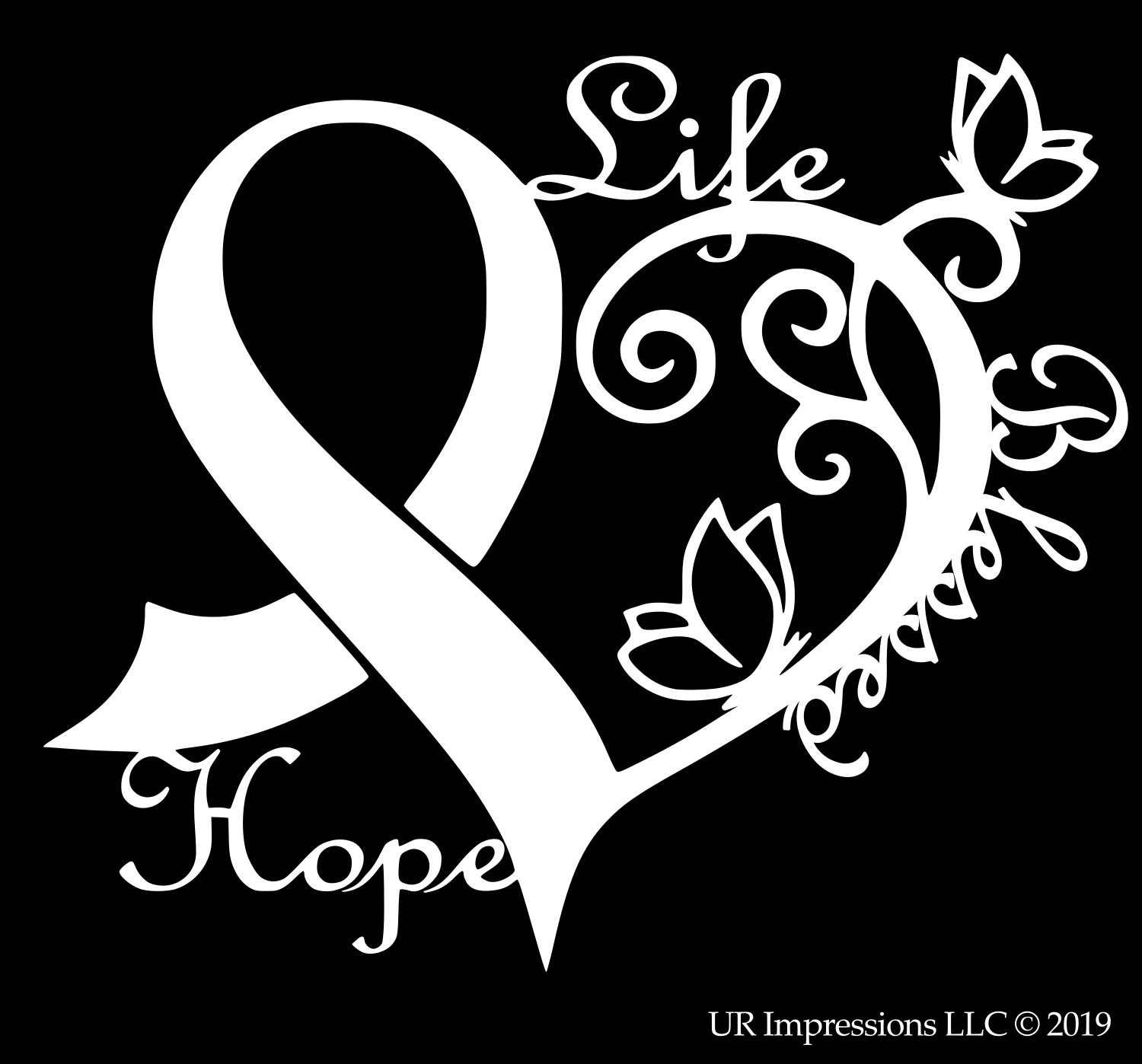 Choose Size /& Color Ribbon Vinyl Sticker Decal Military Breast Cancer