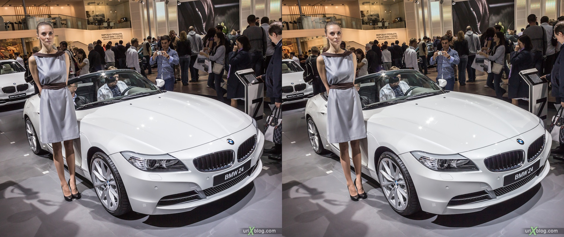 2012, BMW Z4, девушка, модель, girl, model, Moscow International Automobile Salon, auto show, 3D, stereo pair, cross-eyed, crossview