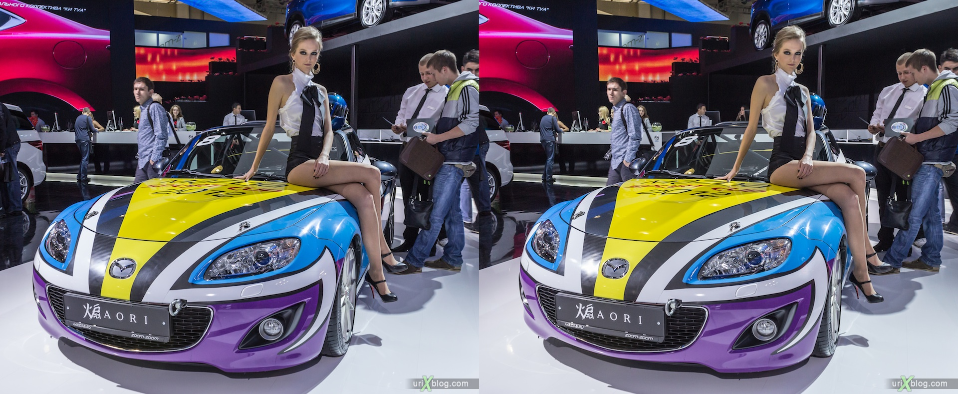 2012, Mazda AORI, девушка, модель, girl, model, Moscow International Automobile Salon, auto show, 3D, stereo pair, cross-eyed, crossview