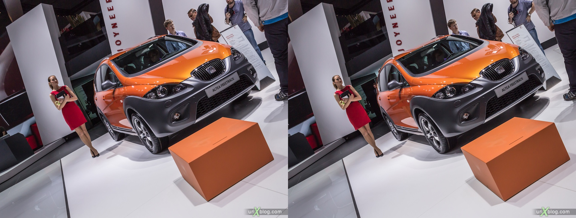 2012, Seat Altea Freetrack, girl, model, Moscow International Automobile Salon, auto show, 3D, stereo pair, cross-eyed, crossview