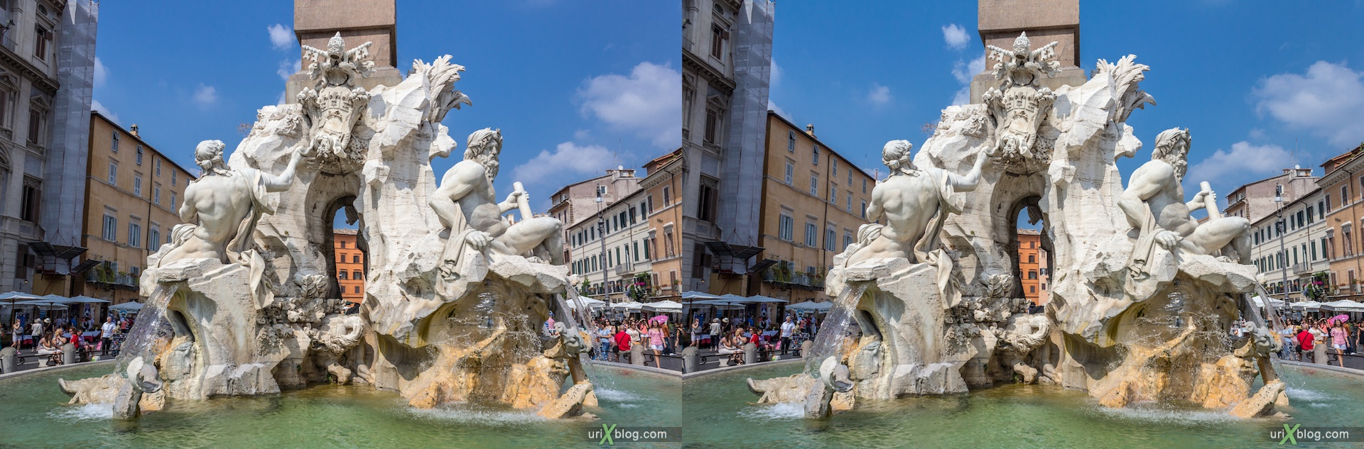 2012, fountain of the Four Rivers, Piazza Navona, Rome, Italy, 3D, stereo pair, cross-eyed, crossview, cross view stereo pair