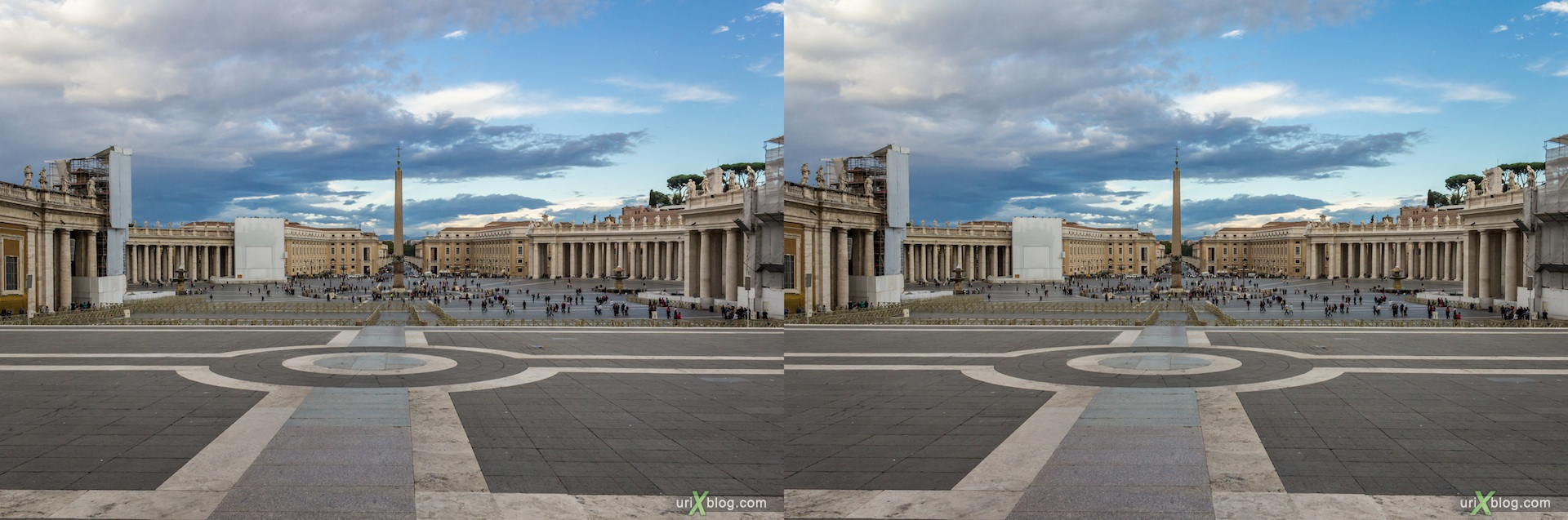 2012, Saint Peter's Square, Vatican, Rome, Italy, 3D, stereo pair, cross-eyed, crossview, cross view stereo pair