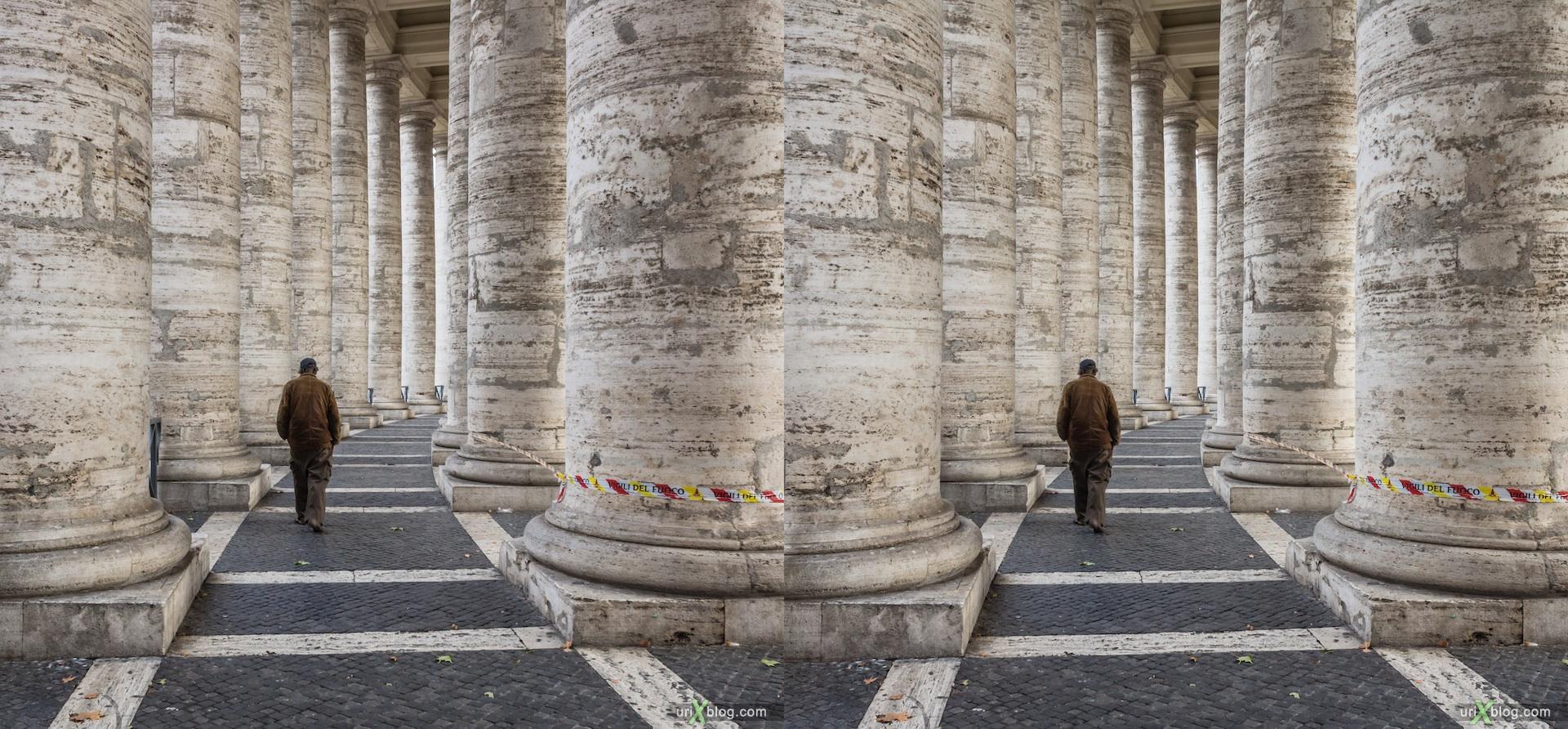 2012, Колонада Святого Петра, Ватикан, Рим, Италия, 3D, перекрёстные стереопары, стерео, стереопара, стереопары