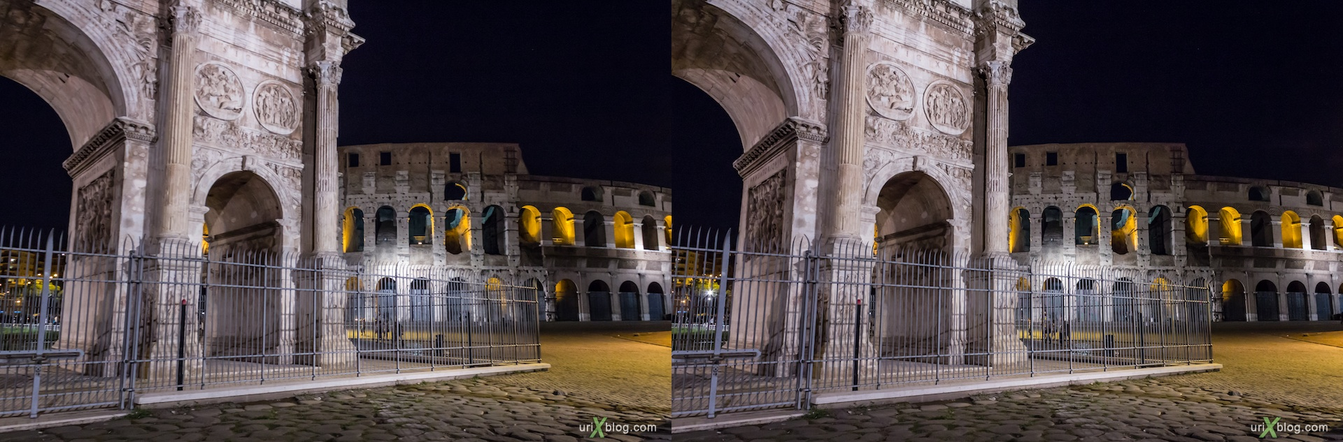 2012, Colosseum, Coliseum, Flavian Amphitheatre, Arch of Constantine, Rome, Italy, night, 3D, stereo pair, cross-eyed, crossview, cross view stereo pair