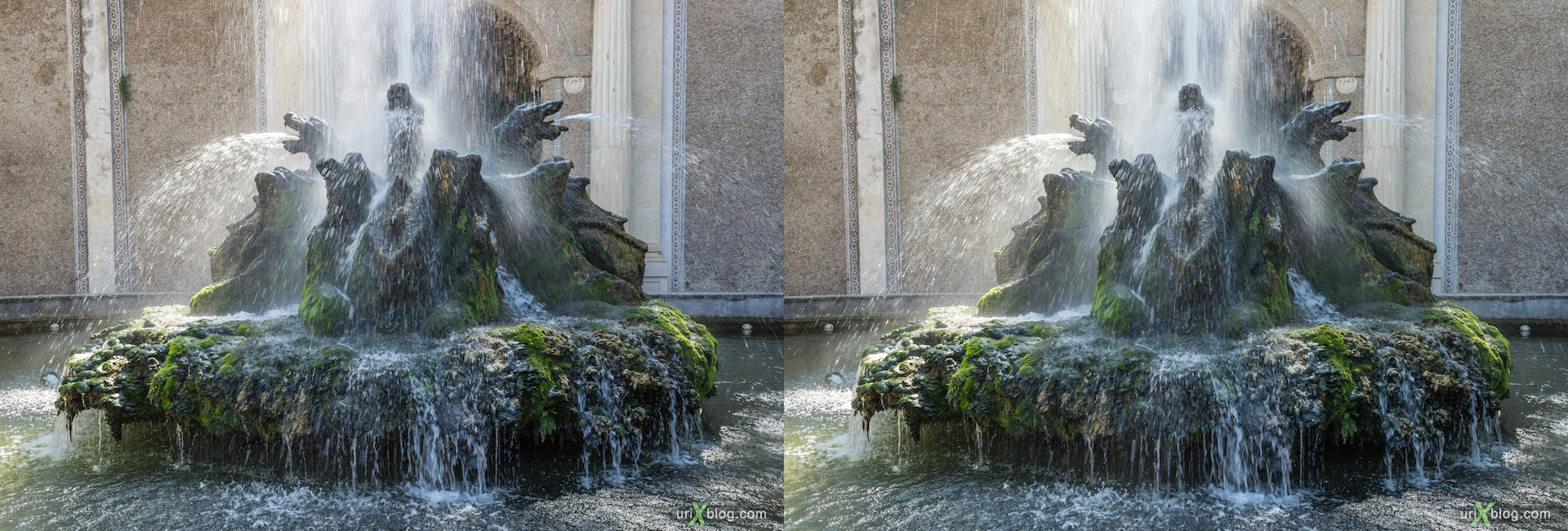2012, Fontana dei Draghi, villa D'Este, Italy, Tivoli, Rome, 3D, stereo pair, cross-eyed, crossview, cross view stereo pair