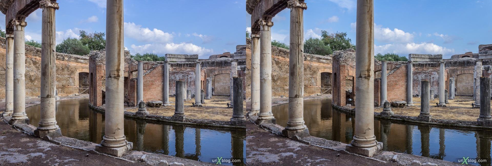 2012, Teatro Marittimo, Villa Adriana, Italy, Tivoli, Ancient Rome, 3D, stereo pair, cross-eyed, crossview, cross view stereo pair