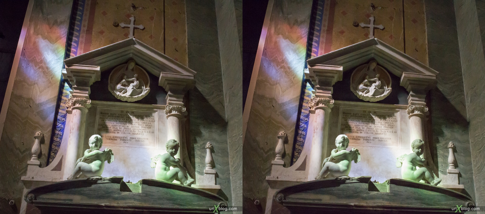 2012, church of Santa Maria sopra Minerva, Rome, Italy, cathedral, monastery, Christianity, Catholicism, 3D, stereo pair, cross-eyed, crossview, cross view stereo pair