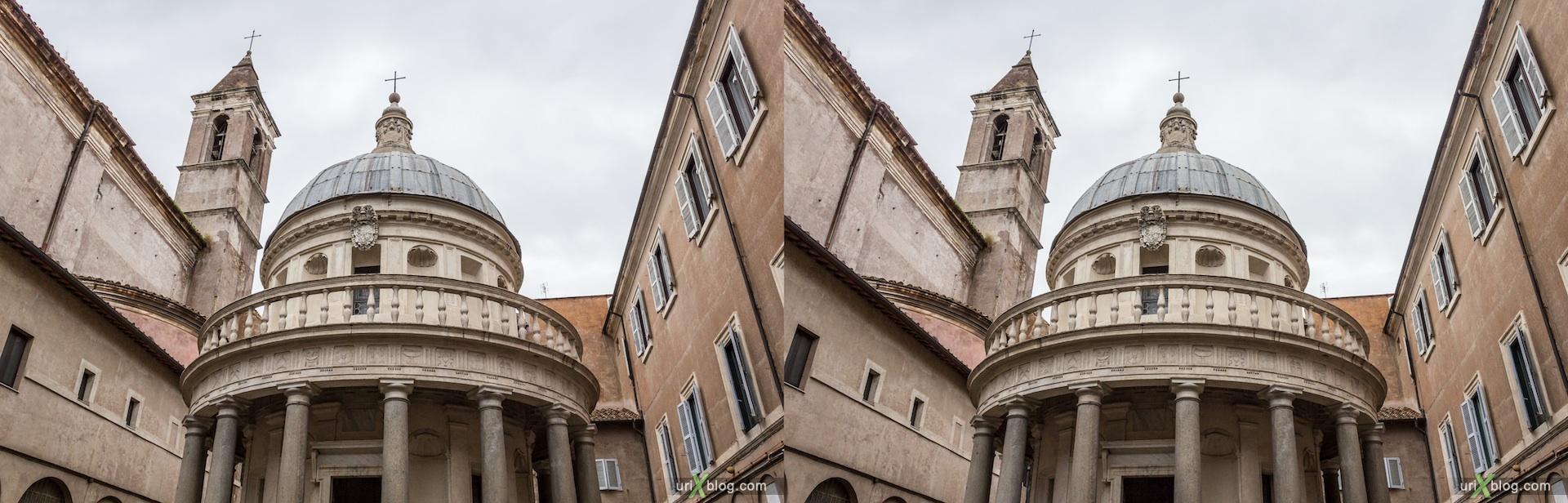 2012, Темпьетто, церковь, собор, христианство, католичество, Рим, Италия, осень, 3D, перекрёстные стереопары, стерео, стереопара, стереопары