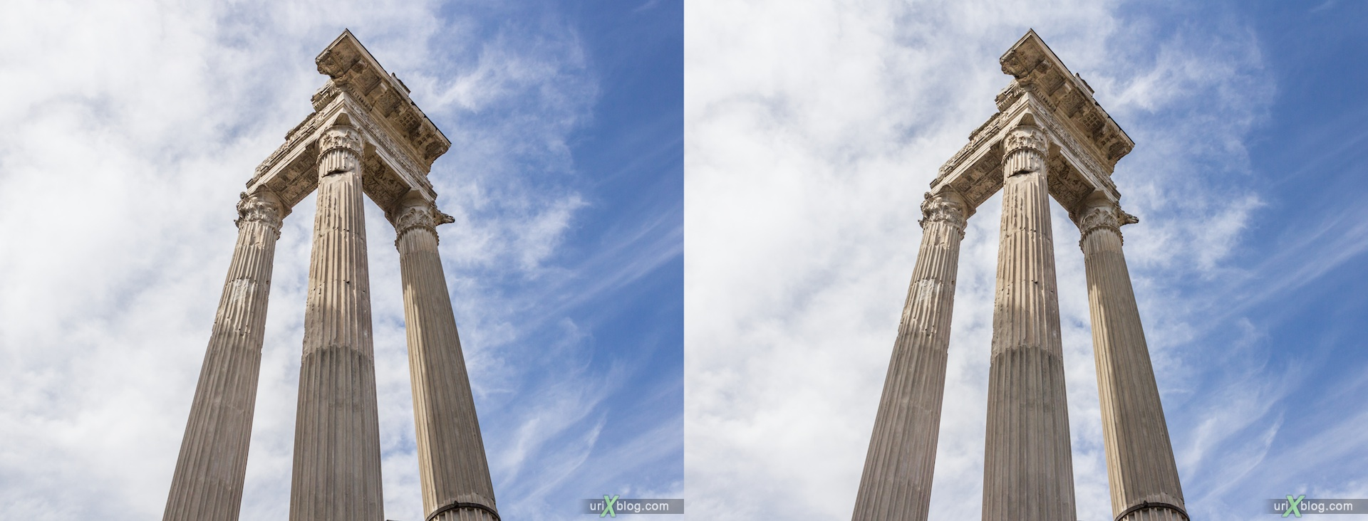 2012, Temple of Apollo Sosianus, Theater of Marcellus, Rome, Italy, 3D, stereo pair, cross-eyed, crossview, cross view stereo pair