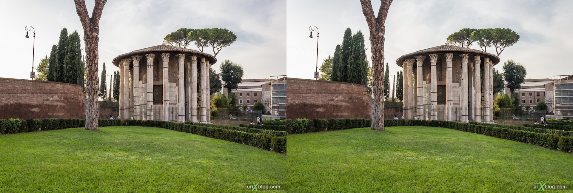 2012, Temple of Hercules Victor, Forum Boarium, 3D, stereo pair, cross-eyed, crossview, cross view stereo pair