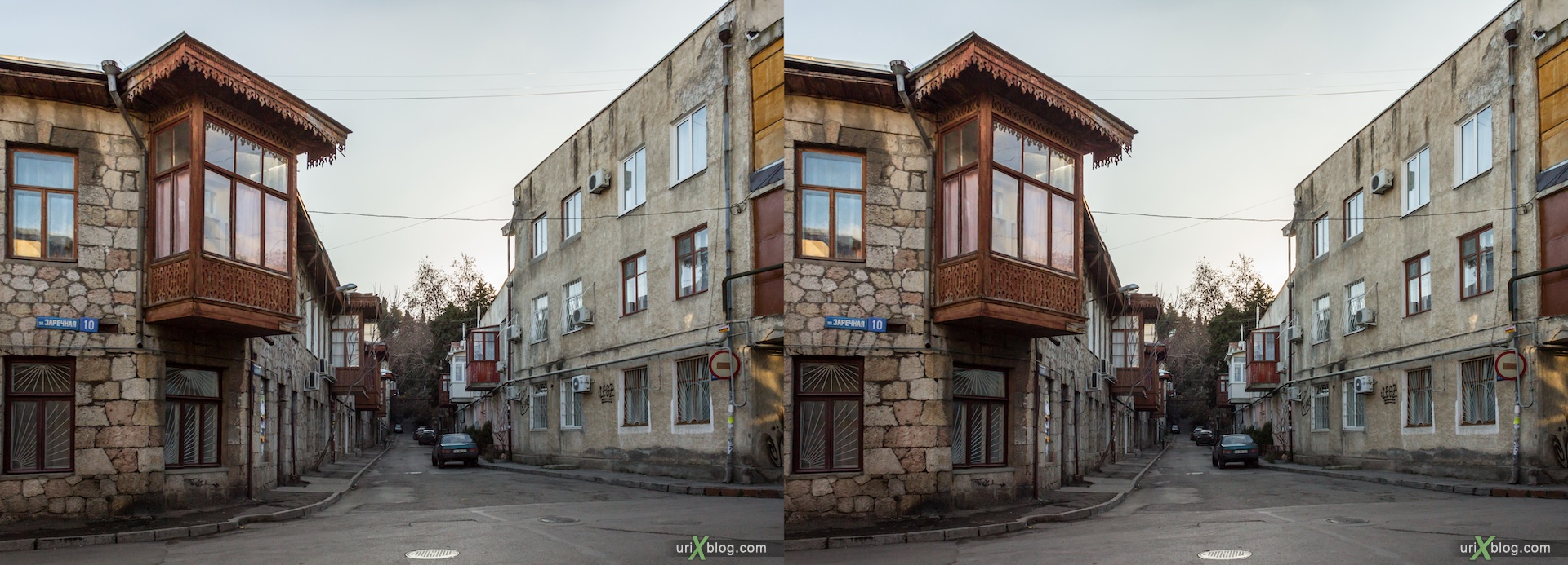 2012, Arkhivnaya street, Yalta, evening, coast city, Crimea, Ukraine, 3D, stereo pair, cross-eyed, crossview, cross view stereo pair, stereoscopic