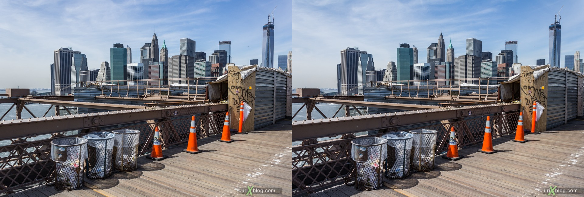 2013, Brooklyn Bridge, NYC, New York City, USA, 3D, stereo pair, cross-eyed, crossview, cross view stereo pair, stereoscopic