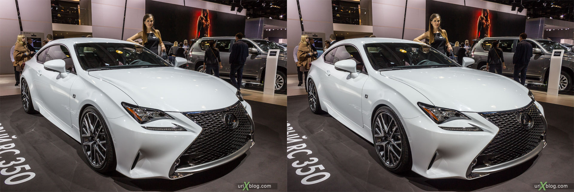 Lexus RC 350, Moscow International Automobile Salon 2014, MIAS 2014, girls, models, Crocus Expo, Moscow, Russia, 3D, stereo pair, cross-eyed, crossview, cross view stereo pair, stereoscopic, 2014