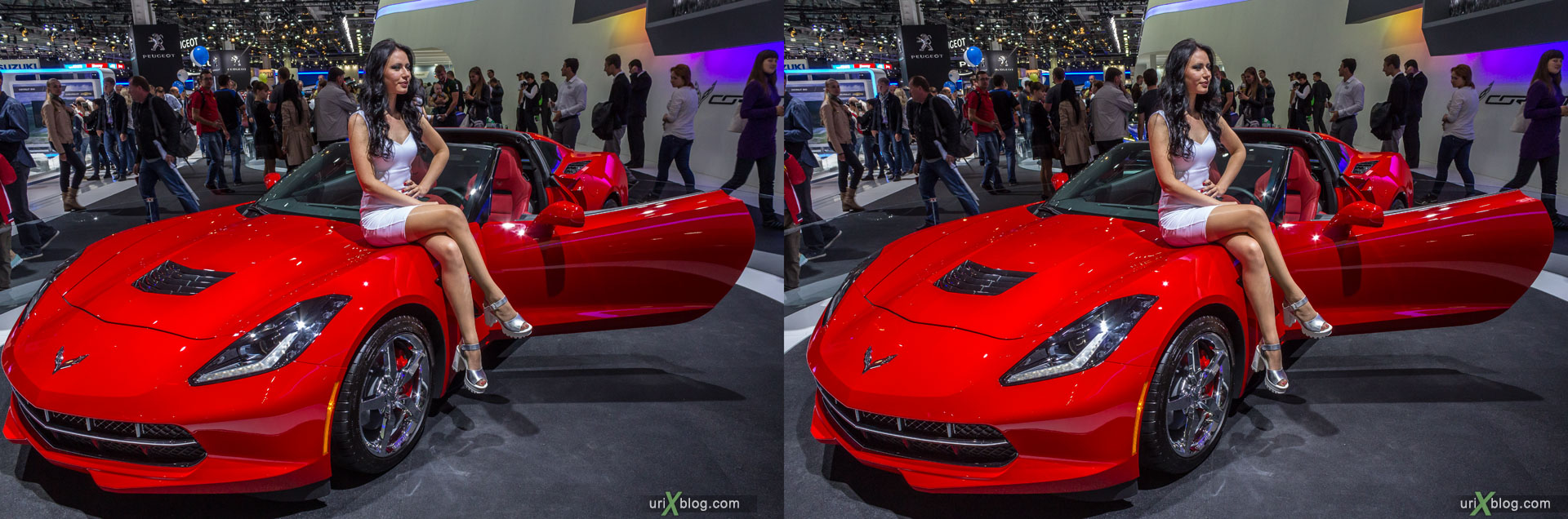 Chevrolet Corvette, Moscow International Automobile Salon 2014, MIAS 2014, girls, models, Crocus Expo, Moscow, Russia, 3D, stereo pair, cross-eyed, crossview, cross view stereo pair, stereoscopic, 2014