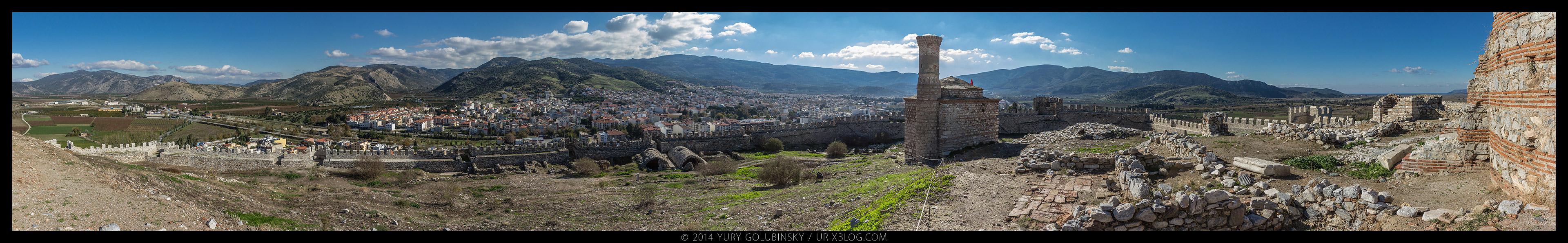 Аясулук, Айасулук, крепость, замок, холм, Эгейское море, Сельчук, Измир, Турция, старинный, средневековый, руины, раскопки, панорама, 2014