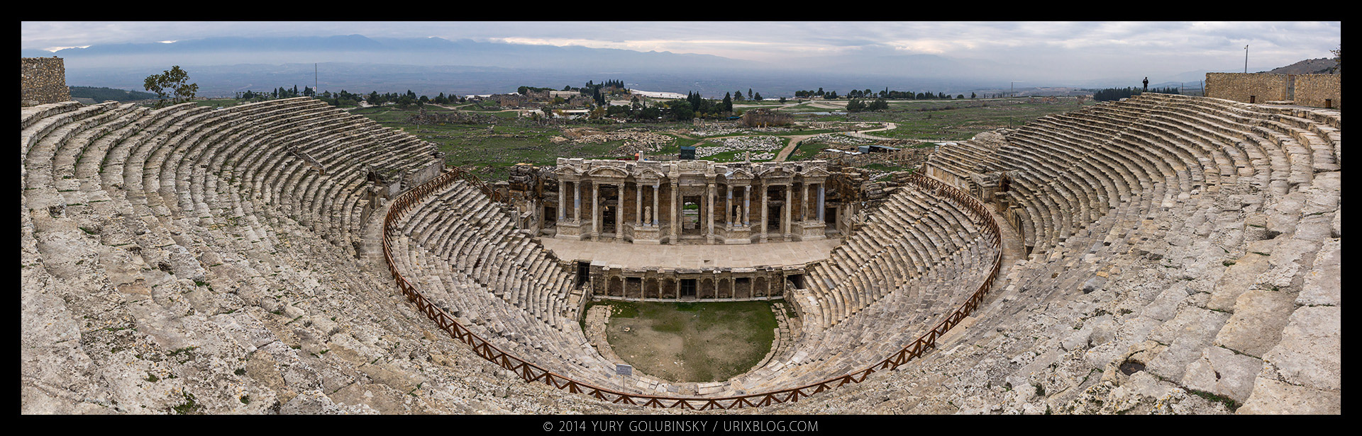 Hierapolis, theatre, scene, ancient, eastern, roman, greek, city, ruins, excavations, byzantine, byzantium, empire, Denizli, Turkey, panorama, 2014