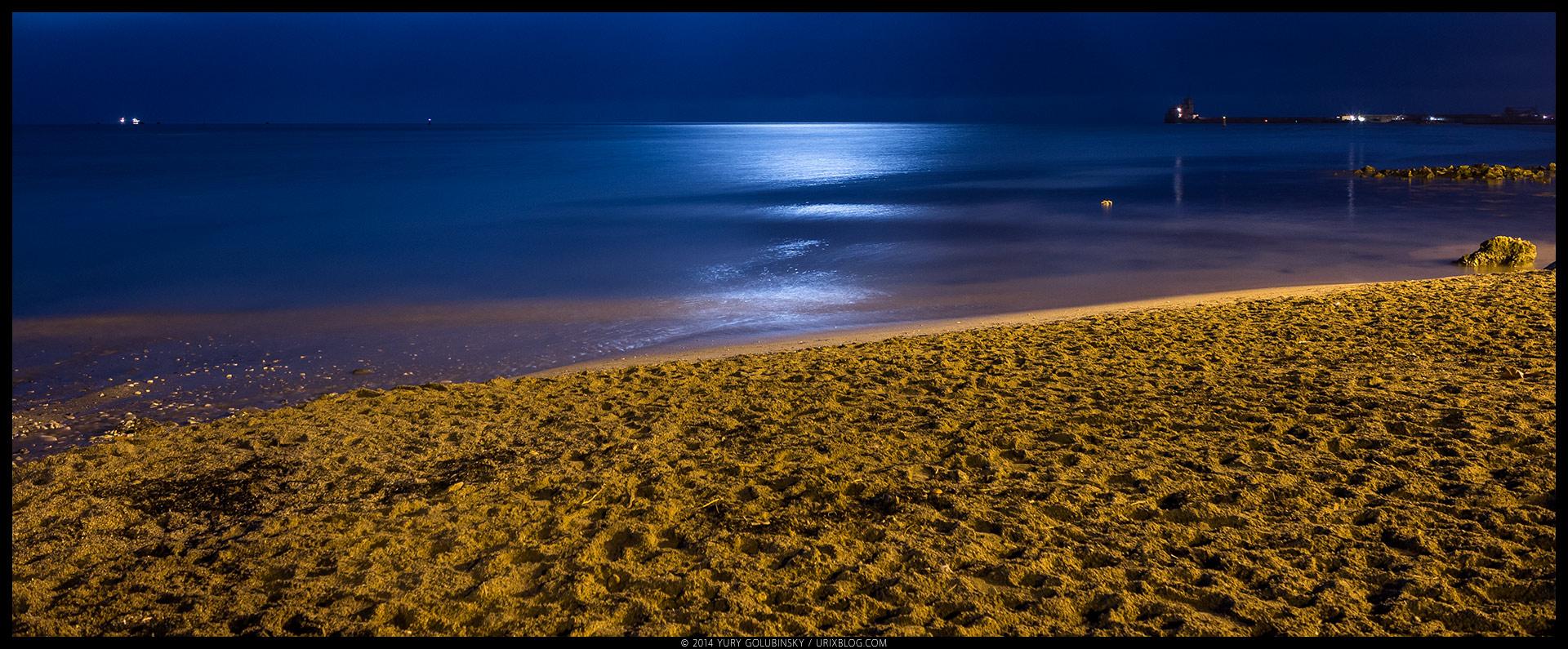 night, beach, sand, Black sea, moon, reflection, Feodosia, Crimea, Russia, winter, january, panorama, 2015