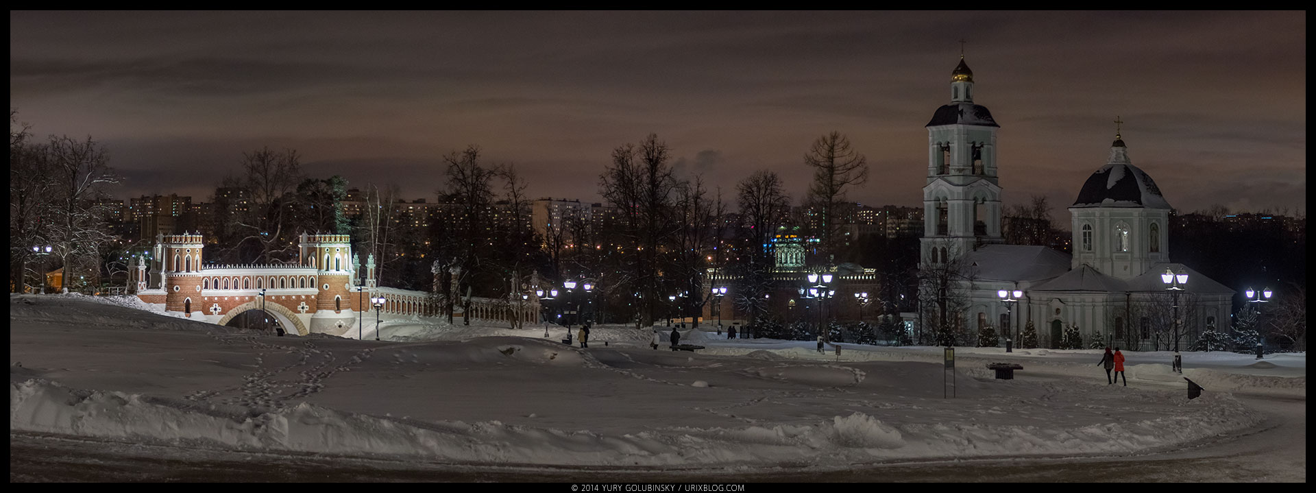night, Tsaritsyno, palace, architecture, Moscow, Russia, winter, January, panorama, 2015