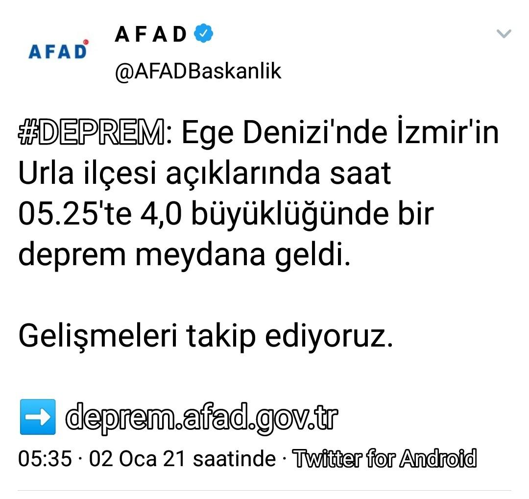 İzmirde 4 Büyüklüğünde Deprem