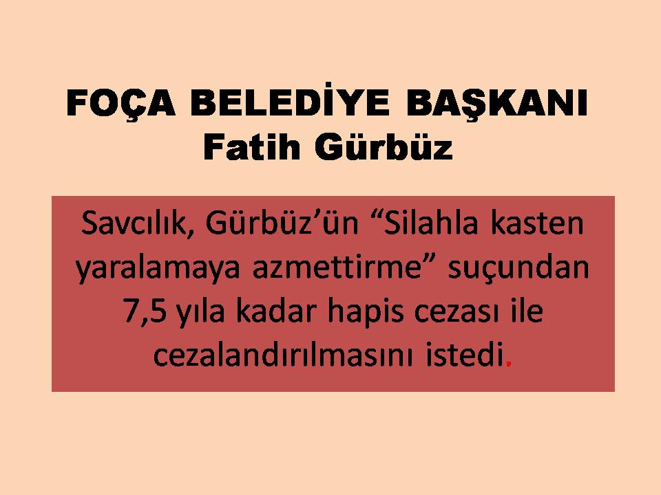 Foça Belediye Başkanı Fatih Gürbüzün 7,5 Yıl Hapsi İstendi