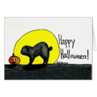 Black Pug Halloween Card