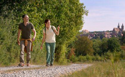 Auf sonnigen Feldwegen, durch schattigen Mischwald oder entlang der Tauber - Wanderfreunde haben rund um Rothenburg eine Vielzahl verschiedener Wege zur Auswahl.