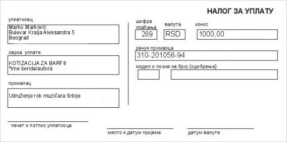 Primer uplatnice za kotizaciju