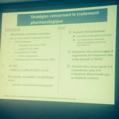 Ejaculation précoce - éjaculatoin prématurée - traitement pharmacologique