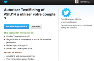 Capture d'ecran de l'API Twitter pour le Texte Mining
