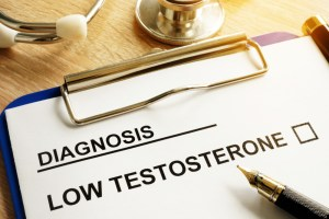 diagnosis of low testosterone on clipboard