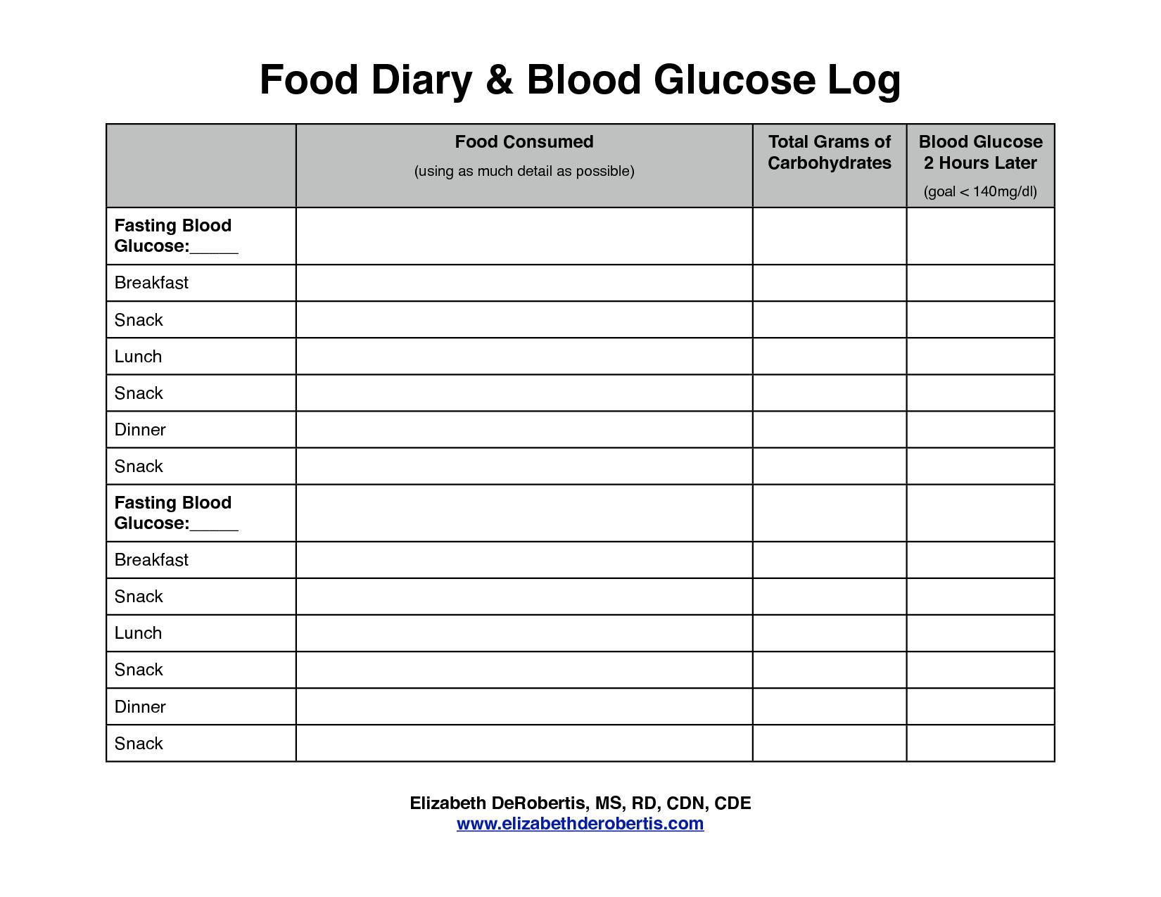 Diabetes Food Log Printable