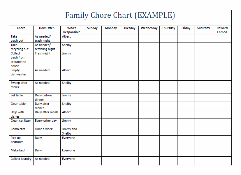 family chore chart template