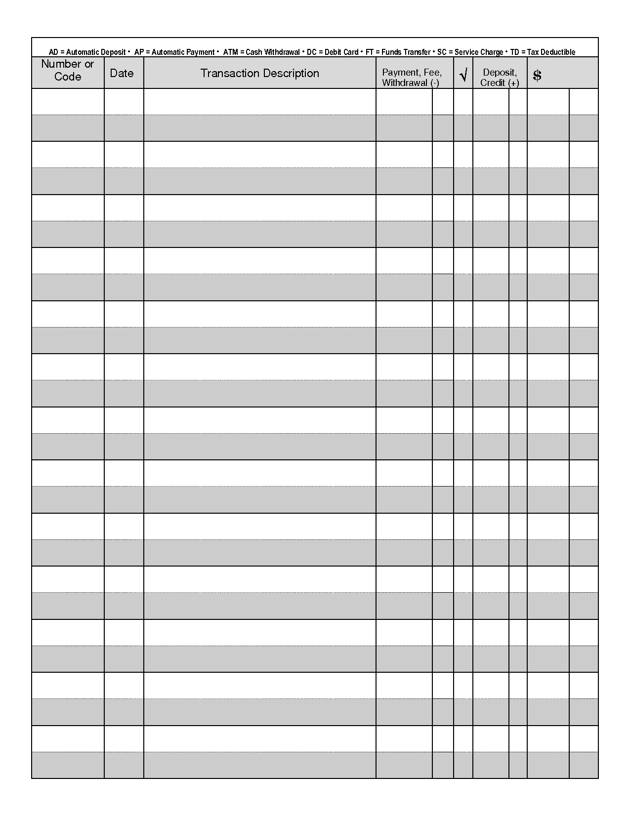 Printable Check Register Front And Back