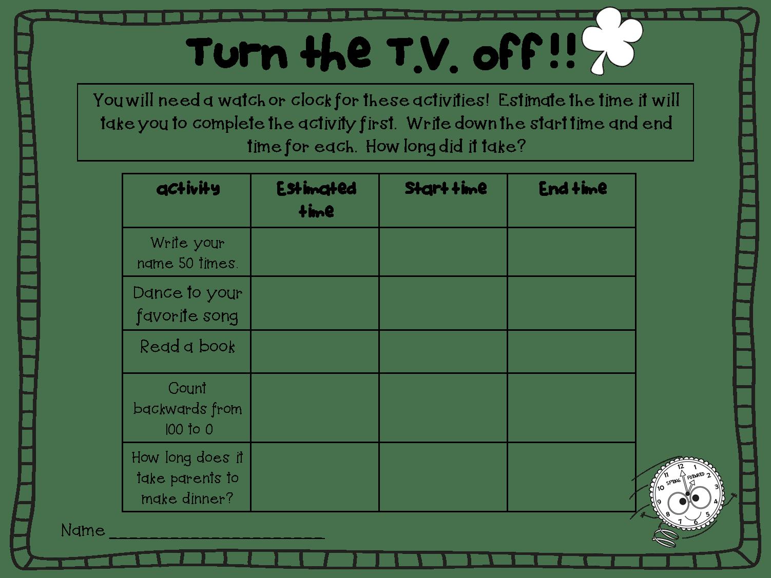 Printable Homework Sheet
