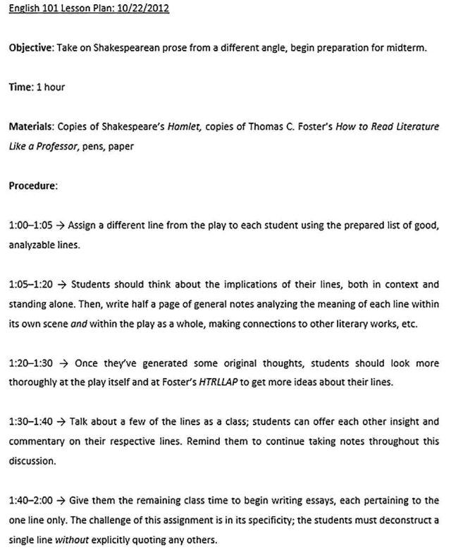 Sample Lesson Plan Outline Template  room surf.com