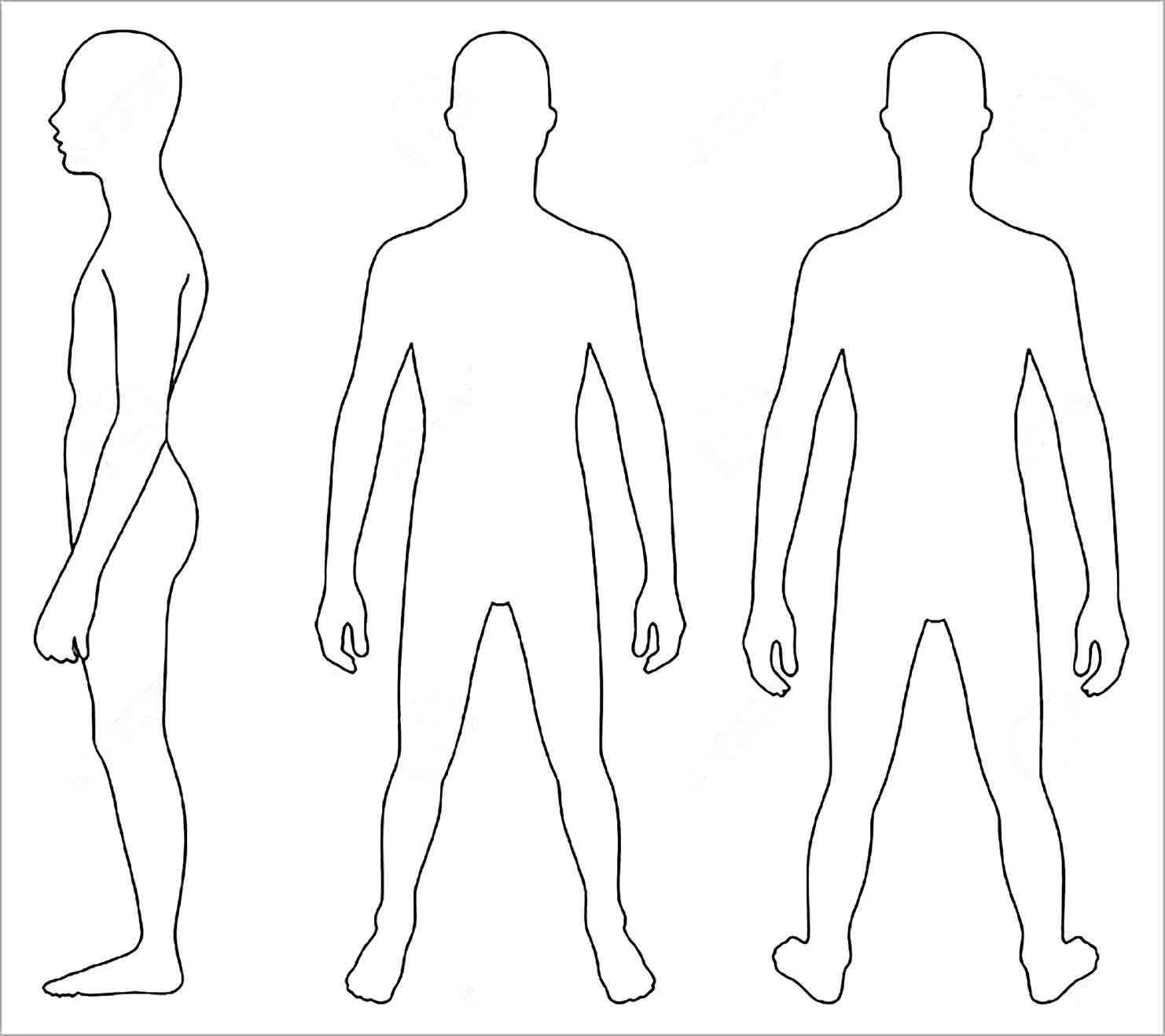 Sample Human Body Outline Template for the Learning Media