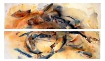 Ursula Kolbe 1990-1999 Watercolour Collages 'Autumn'. Watercolour on paper