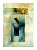 Ursula Kolbe 1990-1999 Watercolour Collages 'Lisbon Memory V'. Watercolour on paper