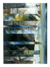 Ursula Kolbe 1990-1999 Watercolour Collages 'Threads IV'. Watercolour on paper