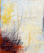 Ursula Kolbe 'Earth Song I'. Oil and oil stick on canvas 120x100cm