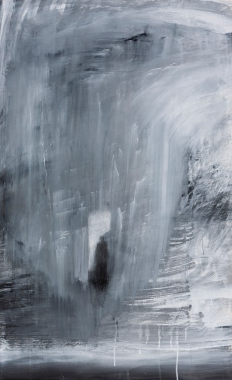 """""""Waiting"""" Gouache, Conté crayon on Arches 100 x 61 cm"""