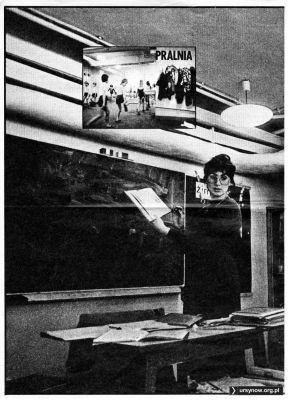 """Tygodnik """"Razem"""" z 29 kwietnia 1983 z wizytą w Szkole nr 303 na Koncertowej. Pralnia i piwnica zamieniona w salę lekcyjną."""