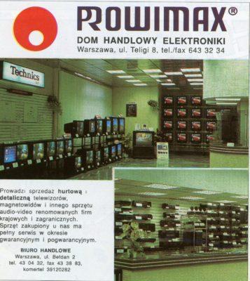Reklama salonu RTV przy Teligi